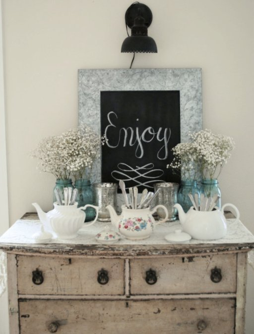 Vintage Dinner Party, Ball Blue Mason Jars, Antique Tea Pot, Chalkboard