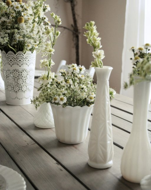 milk glass, astors, larkspur, queen anne's lace, farm table