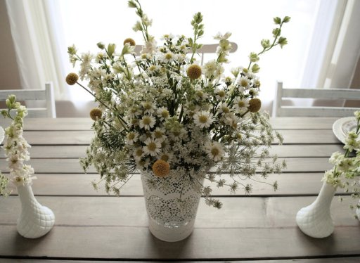 Milk glass, farm table, astors, larkspur, yarrow, queen anne's lace