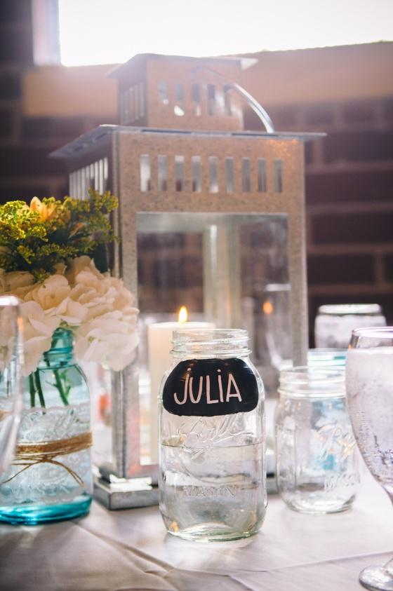 metal lantern, blue mason jars, mason jars with chalk label