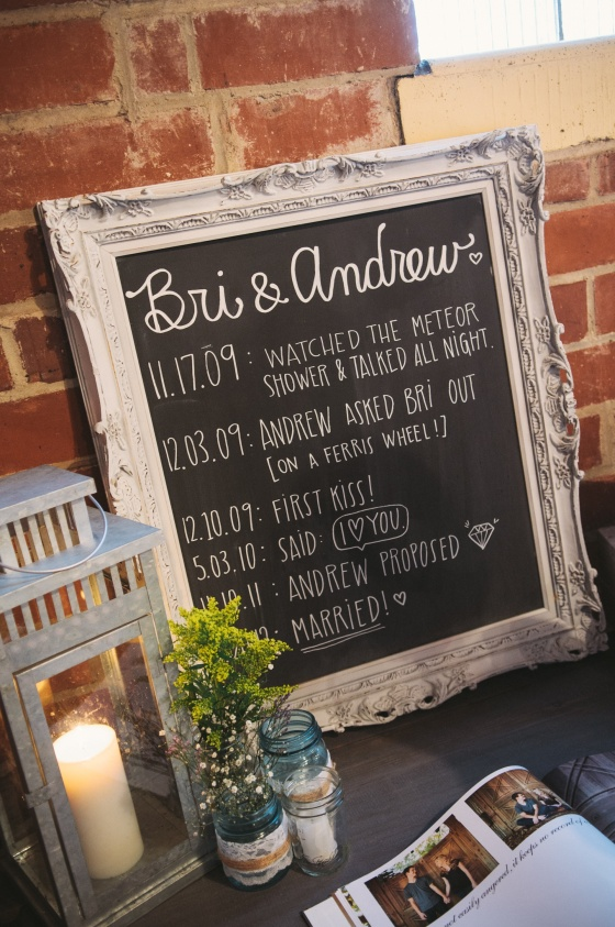 ornate antique chalkboard, galvanized lantern, plank top table