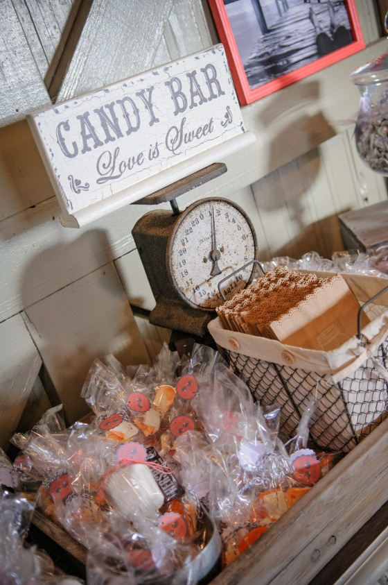 rustic wedding candy buffet, homemade smores, homemade chocolates, antique scale