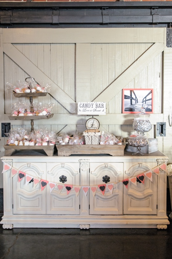 antique white buffet, rustic wedding candy buffet, pink bunting