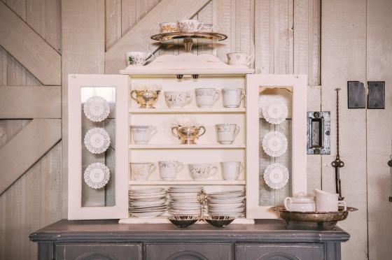vintage tea sets, coffee bar, antique silver platters, rustic wedding