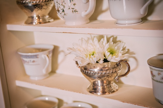 antique silver creamer, vintage tea cups, rustic wedding