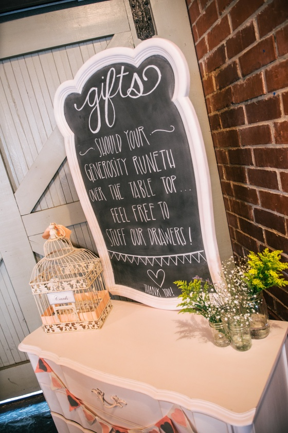 French Provincial gift table, chalkboard, rustic wedding
