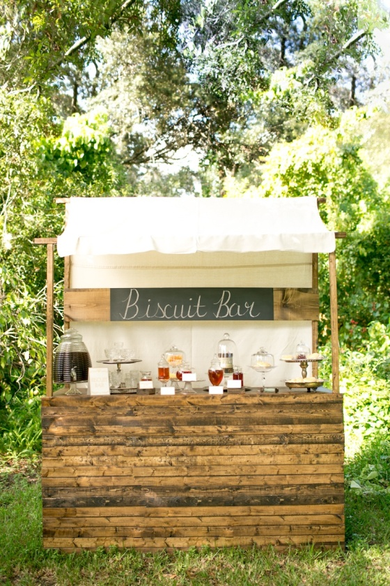 rustic biscuit buffet stand, honey, southern weddings