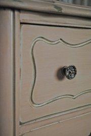 antiqued pink French Provincial dresser, custom hardware
