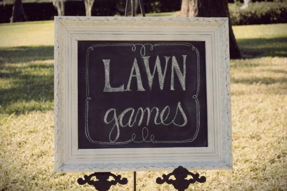 Orlando vintage rentals, styling, Cypress Grove Estate House, lawn games chalkboard, white