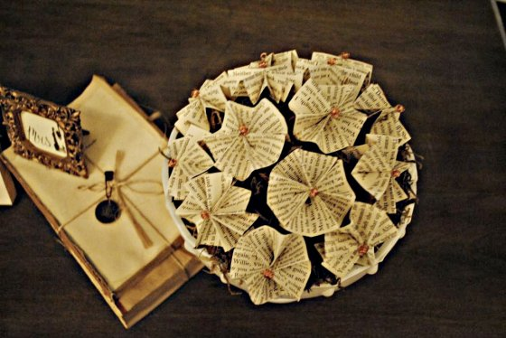 steampunk wedding, milk glass, vintage novel pinwheels, copper wire