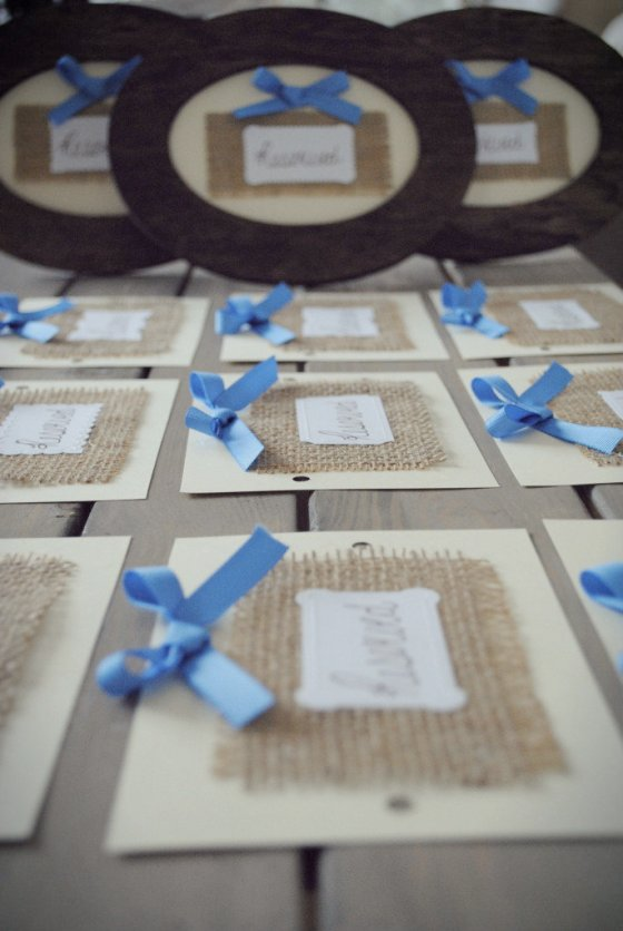 vintage wedding, burlap, cornflower blue, ivory, handmade sign, reserved seating
