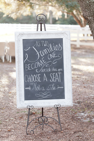 weddings by 2PlusHue, The Lange Farm, Chalkboard, choose a seat not a side