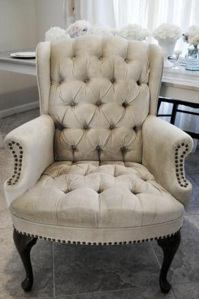 tufted antique chair, vintage wedding, southern
