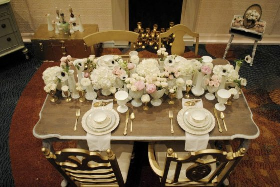 milk glass, peonies, anenomes, ranunculus, antique china, vintage wedding, mint, pink, gold
