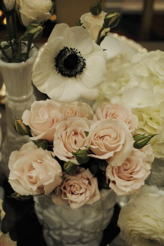 anemone, peonies, pink, white, hydrangea, milk glass, gold, vintage tablescape