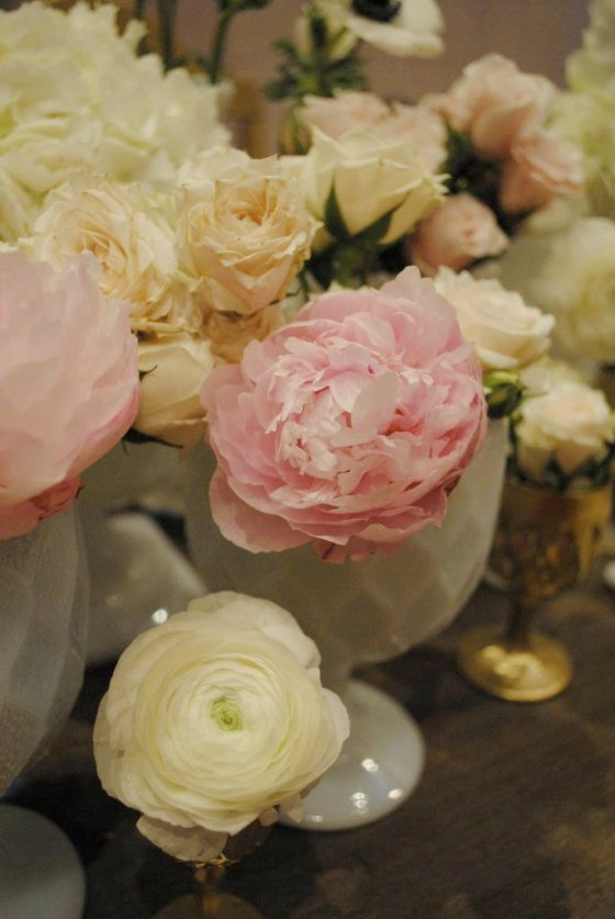 roses, milk glass, peonies, ranunculus, vintage tablescape, pink, white, ivory