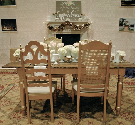 2 Plus Hue, Orlando vintage wedding rental, gold farm table, milk glass, roses, hydrangea, ranunculus