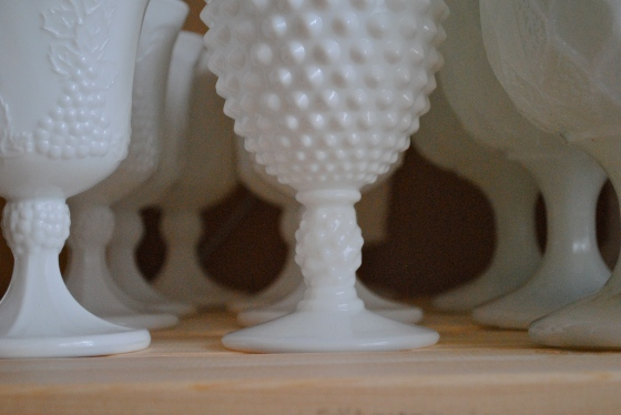 Orlando, vintage wedding designer, milk glass, white