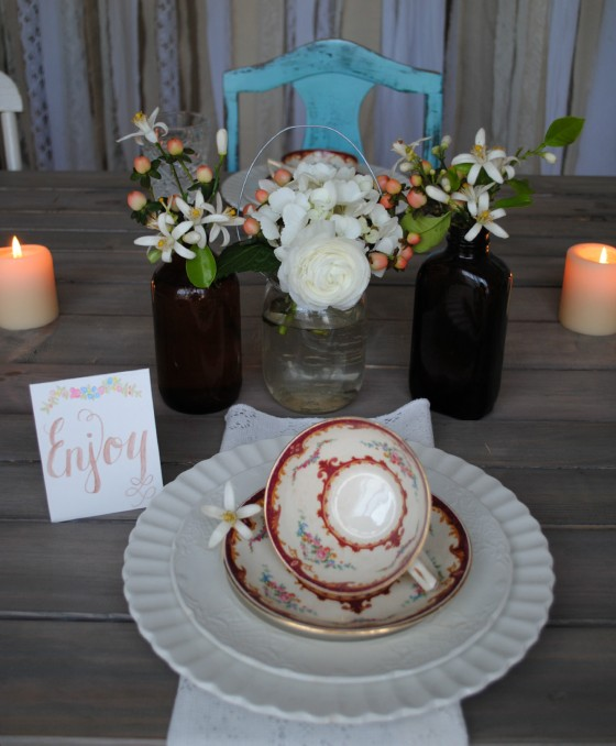 Orlando vintage wedding, amber glass, antique china, orange blossoms