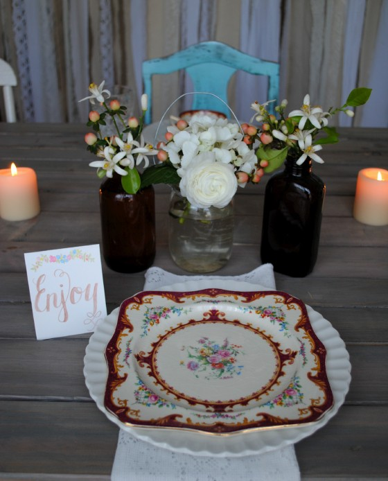 amber glass, mason jar, Orlando vintage wedding