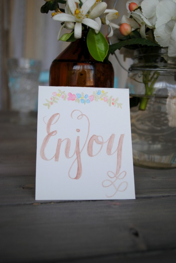 watercolor calligraphy, Orlando vintage wedding, amber glass