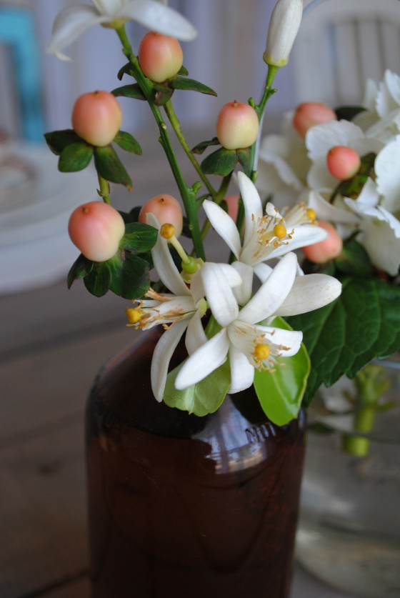 vintage, rustic wedding, orange blossoms, amber glass