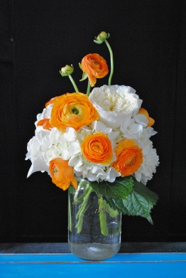 vintage wedding, orange ranunculus, white hydrangea, mason jar centerpiece
