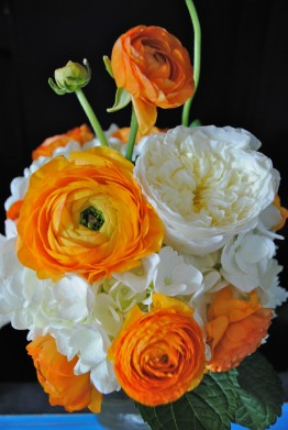 white hydrangea, vintage wedding, mason jar centerpiece, orange ranunculus