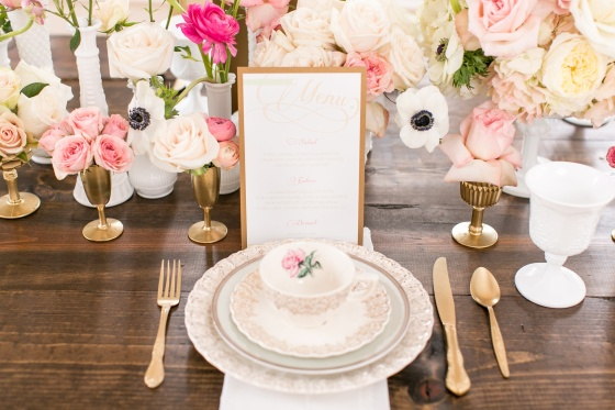 vintage wedding, blush, mint, gold, antique china tablescape, peonies, anemonies