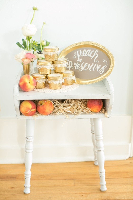 southern wedding, peaches, gold mason jars, peach preserves
