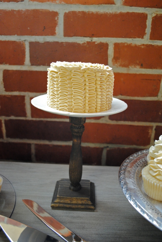 farmers market wedding, rustic, mini ruffle cake, yellow, dessert pedestal