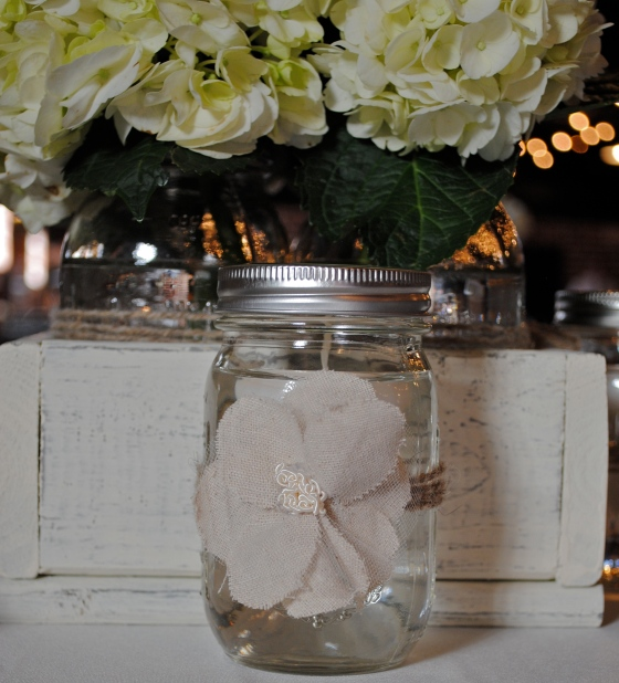 rustic wedding, crates, mason jars, handmade fabric flowers