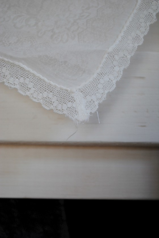 antique handkerchief, garland, vintage wedding