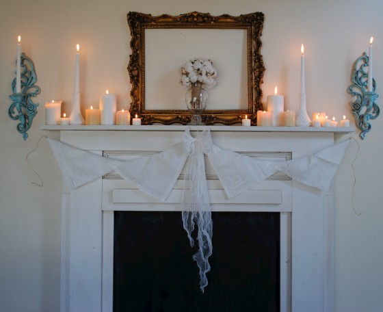 vintage wedding, mantel, candles, antique handkerchief garland