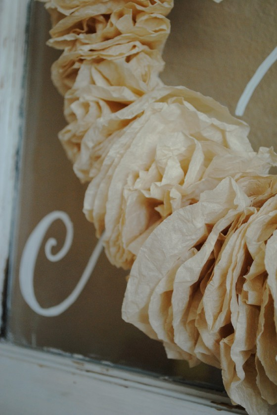 hand dyed coffee filters, wedding decor, antique window, & sign, rustic
