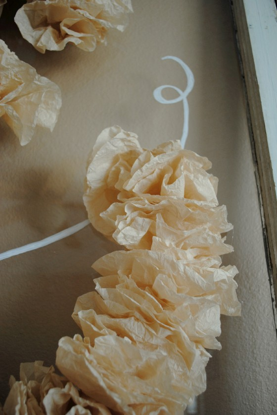 rustic wedding, hand dyed coffee filters, wedding decor, antique window, & sign