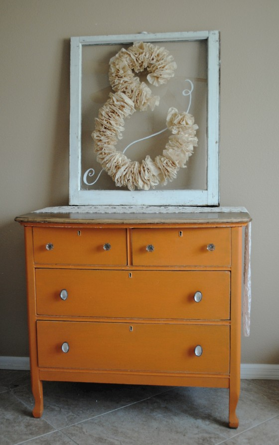 antique dresser, wedding, orange, antique window, coffee filters